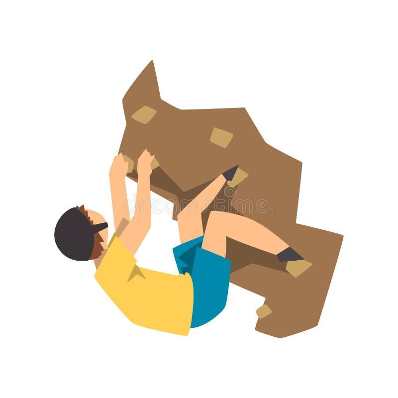 A montanha de escalada da rocha do montanhista masculino, o alpinismo, o esporte extremo e o conceito da atividade de lazer vecto ilustração do vetor
