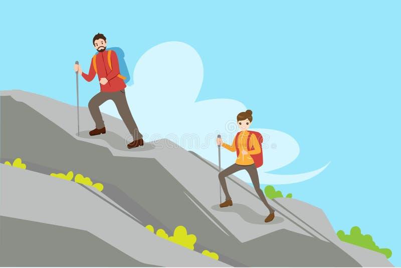 Montanha de escalada dos pares ilustração do vetor