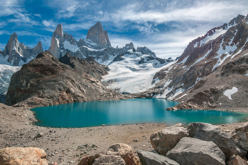 Montanha de Fitz Roy e Laguna de los Tres, Patagonia, Argentina fotografia de stock royalty free