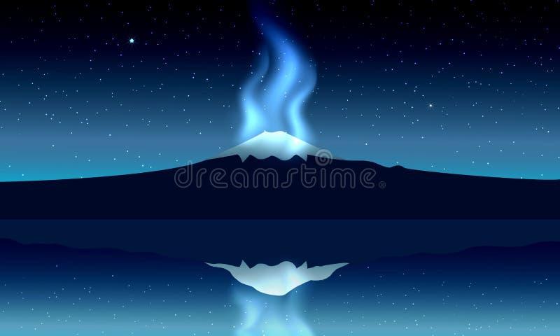 Montanha de Fuji, vista panorâmica da noite com reflexão no lago, ilustração royalty free