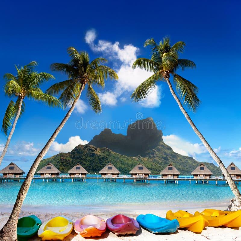 Montanha de Otemanu, palmeiras inclinados e canoas brilhantes na praia Ilha Bora Bora, Tahiti imagem de stock
