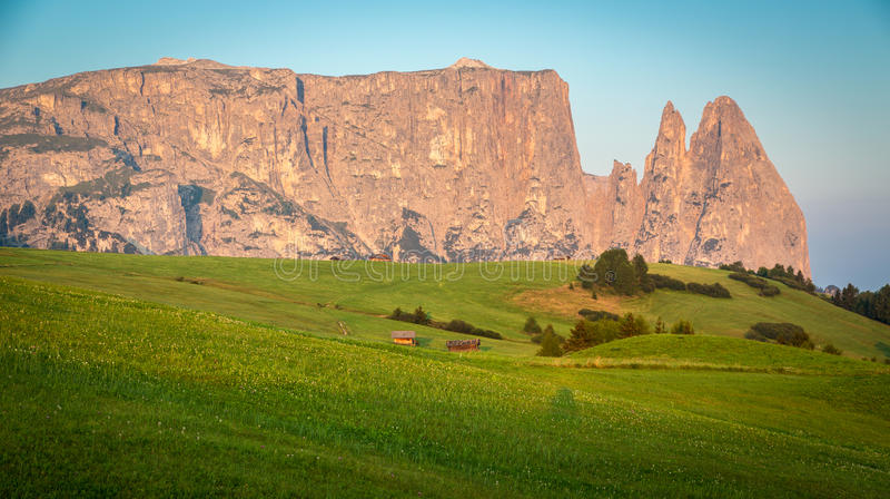 Montanha de Schlern na luz da manhã, Seiser Alm, Tirol sul, Ital fotografia de stock royalty free