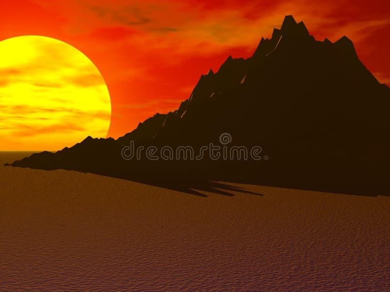 Montanha de Sun do deserto ilustração stock