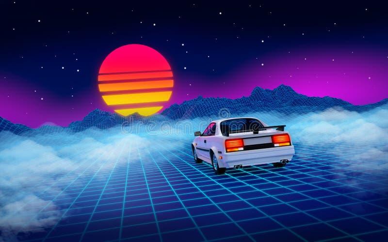 Montanha do fundo do Cyberpunk do carro 80s ilustração do vetor