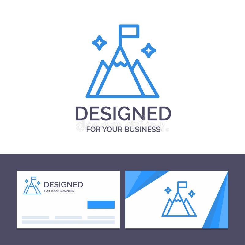 Montanha do molde criativo do cartão e do logotipo, bandeira, usuário, ilustração do vetor da relação ilustração royalty free
