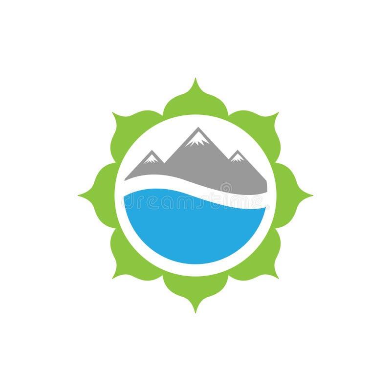 Montanha e água da flor da ilustração do vetor para o projeto do logotipo do ícone da natureza ilustração do vetor