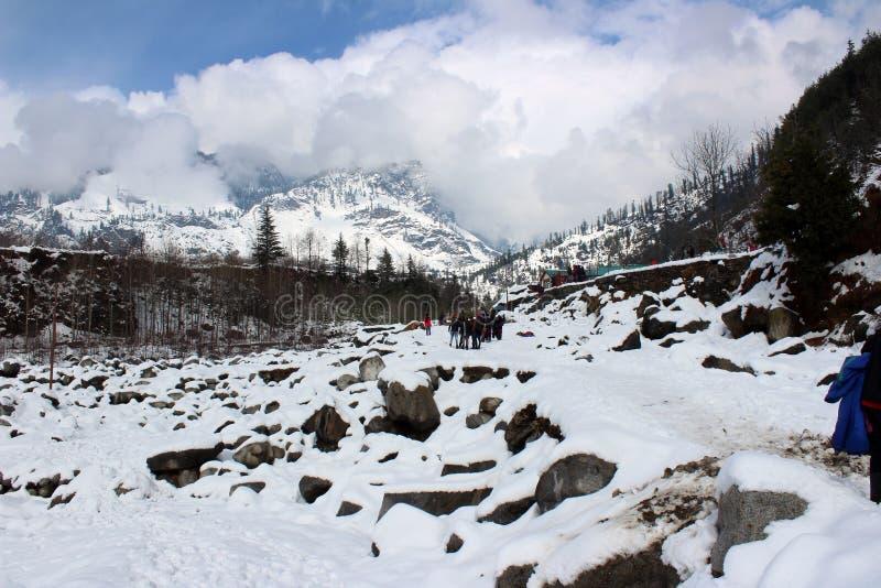 Montanha e árvore da cidade de Manali Himachal Pradesh na Índia imagens de stock