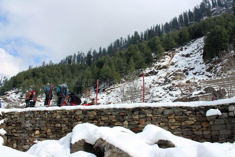 Montanha e árvore da cidade de Manali Himachal Pradesh na Índia imagens de stock royalty free