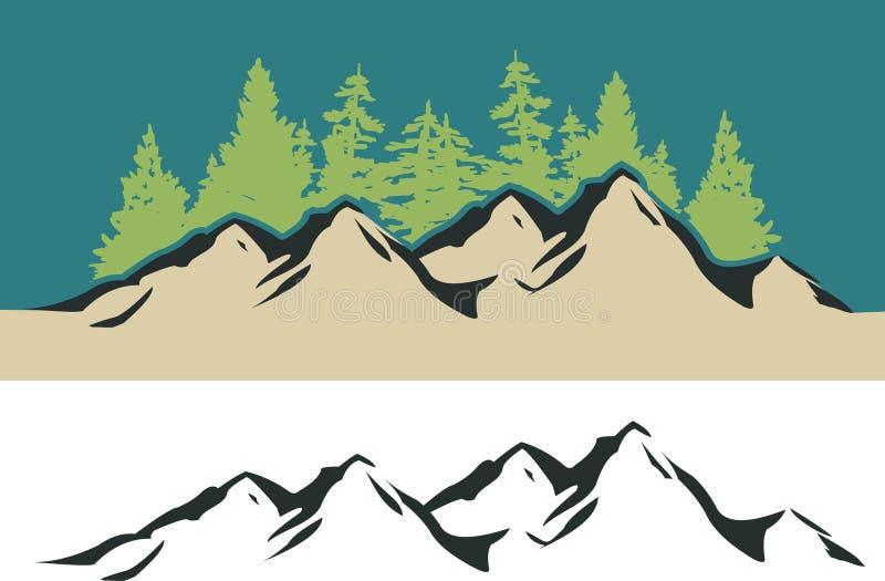 Montanha e árvores ilustração stock