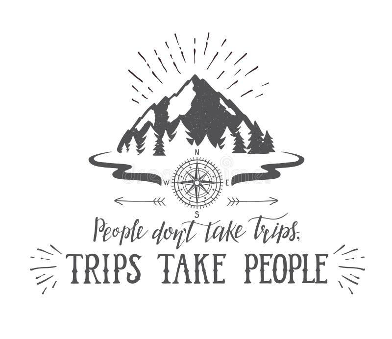 Montanha e cartaz do desejo por viajar da floresta ilustração royalty free