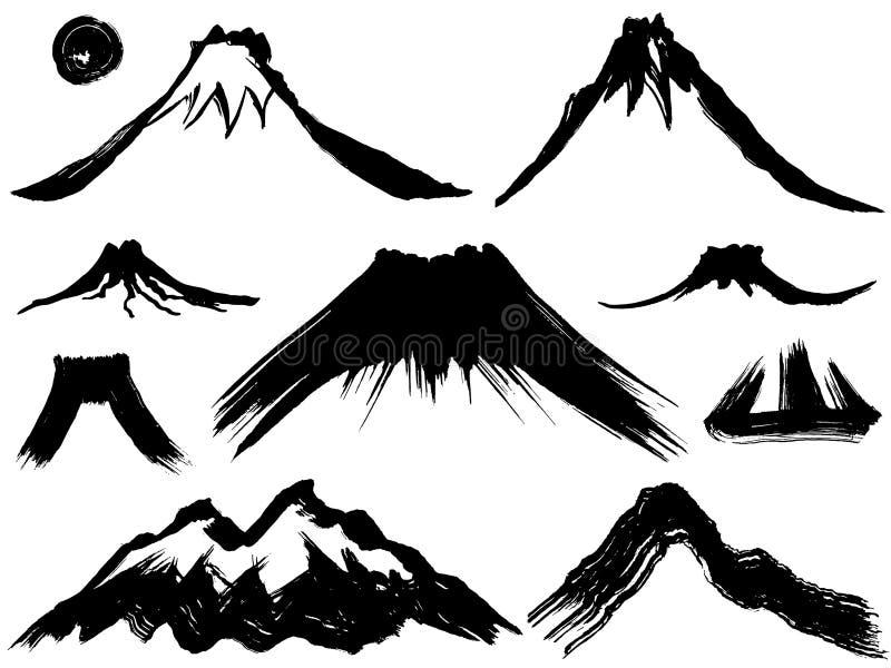 Montanha e montanha do vulcão ilustração do vetor