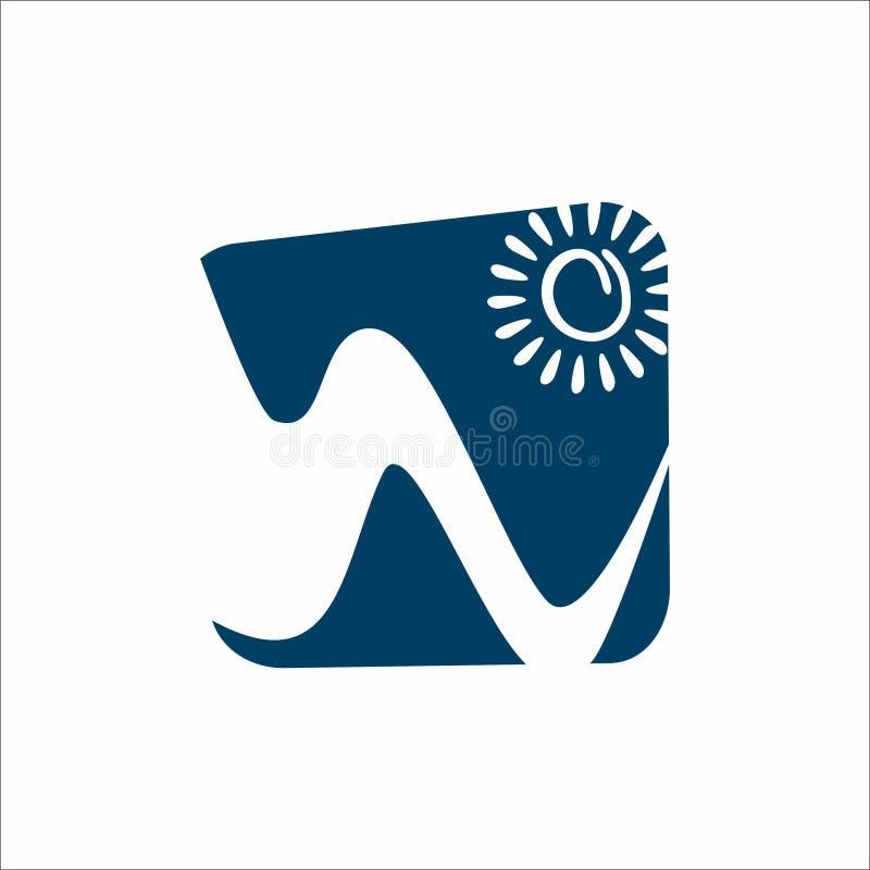Montanha e logotipo de Sun ilustração royalty free