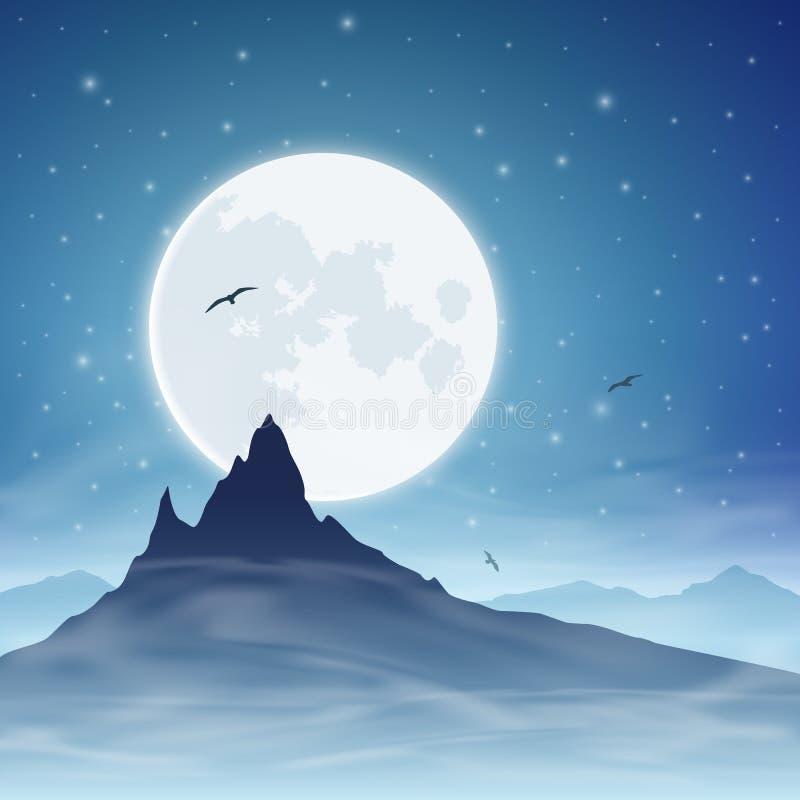 Montanha e lua ilustração royalty free