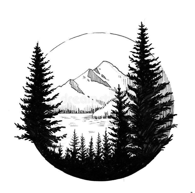 Montanha e madeiras ilustração stock