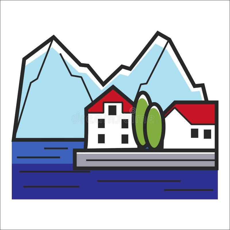 Montanha e paisagem das casas do perímetro urbano arte ilustração royalty free