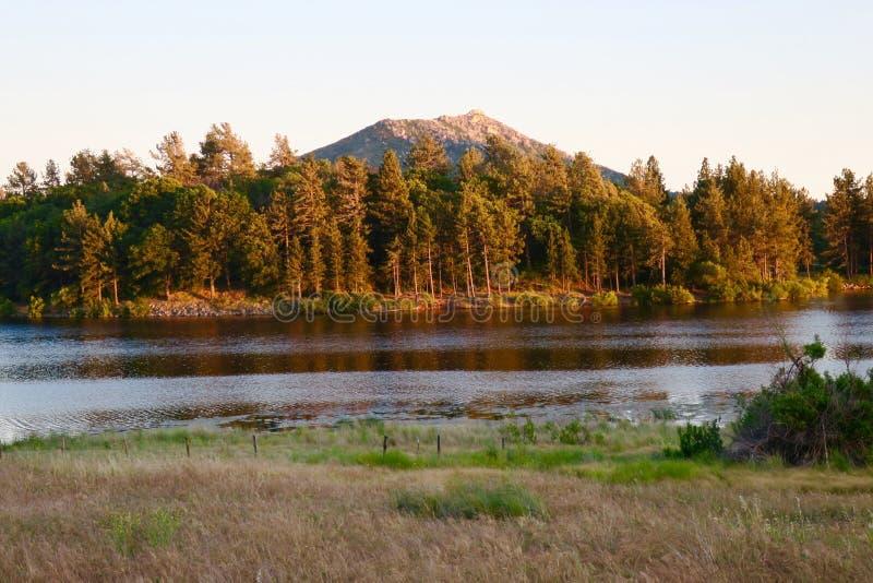 Montanha e pinheiros atrás do lago Cuyamaca fotos de stock