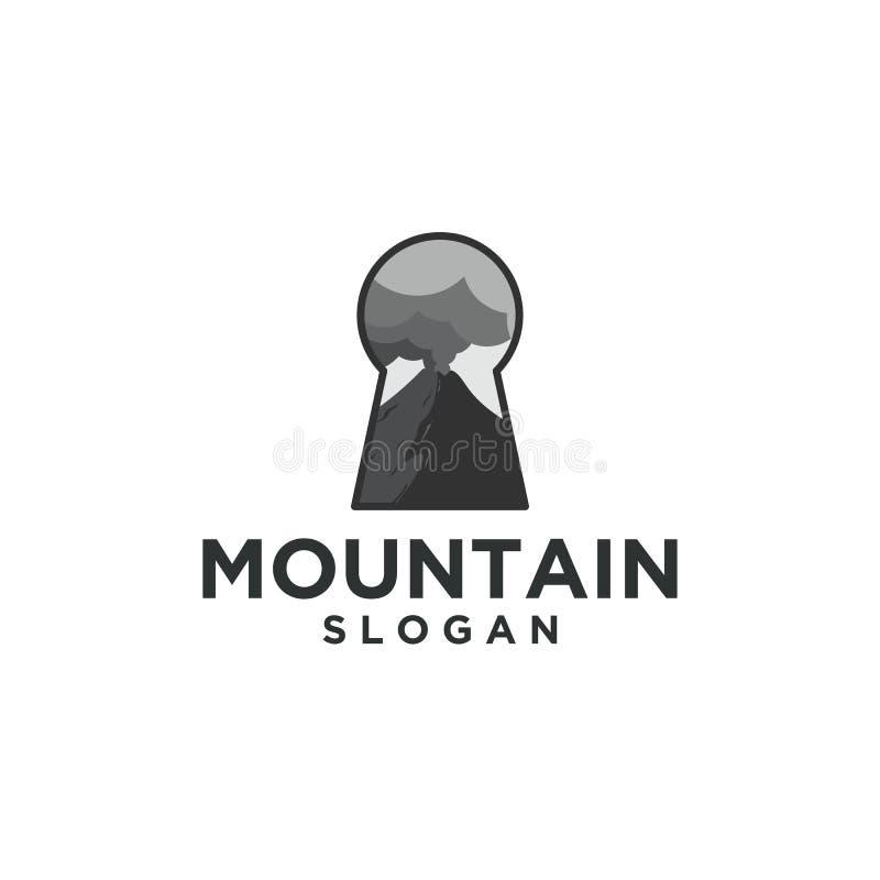 Montanha e projetos chaves do logotipo ilustração do vetor