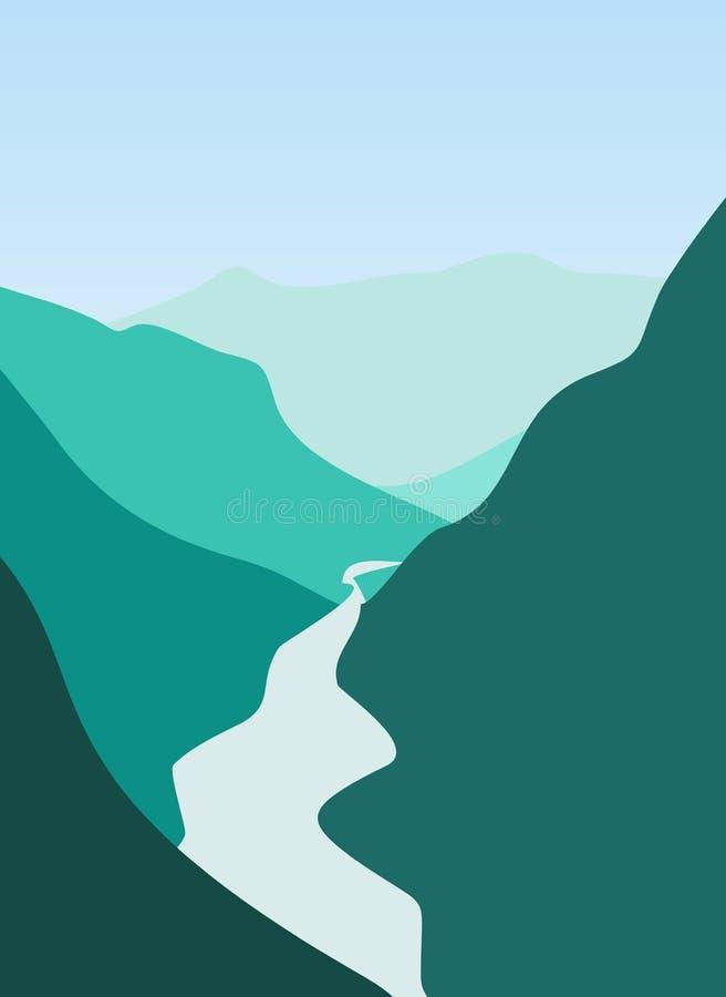 Montanha e rio ilustração do vetor