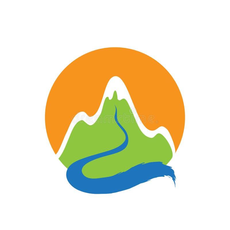 Montanha e rio, logotipo do vetor ilustração royalty free