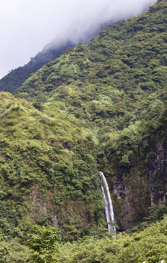 A montanha em uma névoa e em quedas polynesia tahiti fotografia de stock