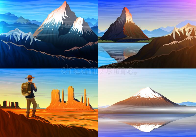 Montanha everest, matterhorn, Fuji com turista, vale do monumento, vista panorâmica da manhã, picos, paisagem cedo dentro ilustração stock