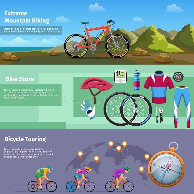 Montanha extrema que biking, loja da bicicleta, bicicleta ilustração stock
