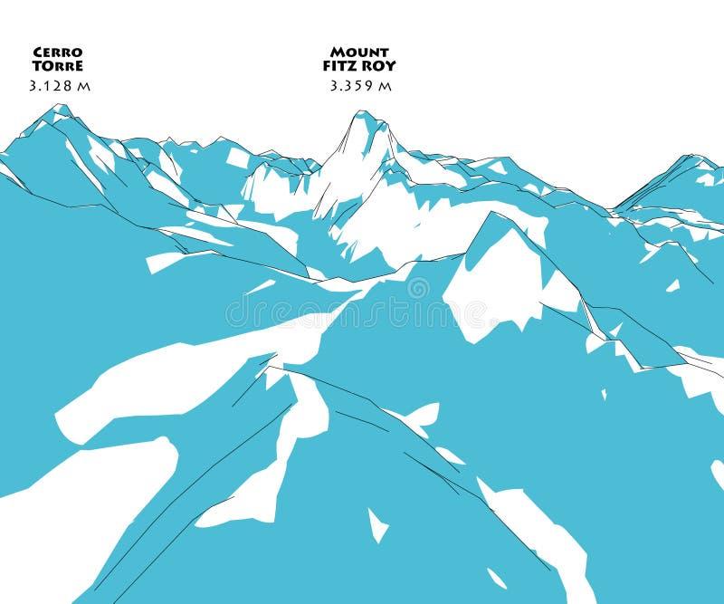 Montanha Fitz Roy, relevo da altura, montanhas, ilustração stock