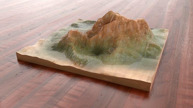 Montanha handcrafted de madeira - rendição 3D ilustração stock