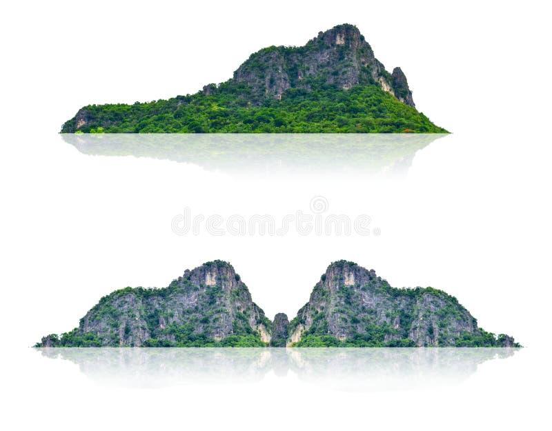 Montanha, ilha isolada em um fundo branco com uma fuga ilustração royalty free