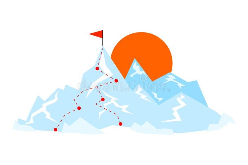 Montanha lisa com a rota ao pico Ilustração do vetor da maneira da viagem Conceito do objetivo ilustração do vetor