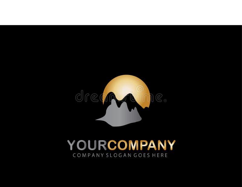 Montanha Logo Golden Design Company ilustração stock