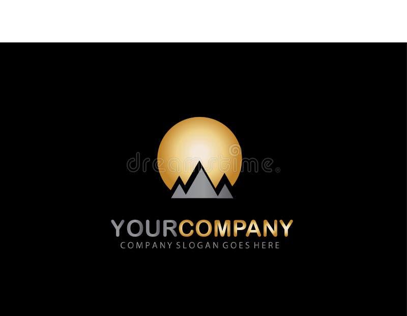Montanha Logo Golden Design Company ilustração do vetor
