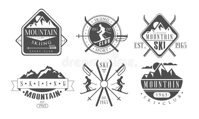 Montanha Logo Templates Set retro de esqui, ilustração monocromática de esqui do vetor das etiquetas do vintage do clube de espor ilustração royalty free