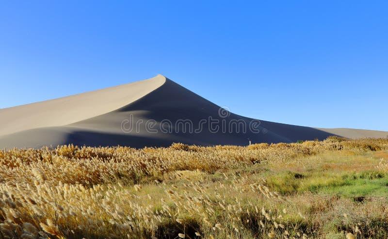Montanha Mingsha Shan da Ecoar-areia no chinês imagens de stock