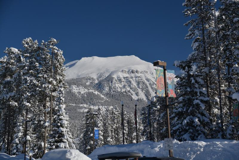 Montanha nevado vista de Lake Louise foto de stock royalty free