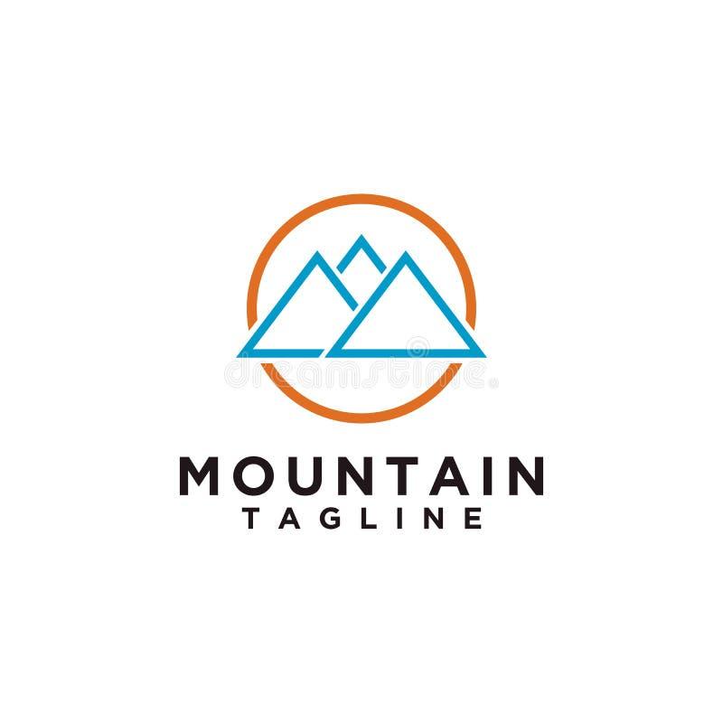 Montanha ou monte ou projeto máximo do logotipo O ícone do acampamento ou da aventura, ajardina o símbolo e pode ser usado para o ilustração royalty free