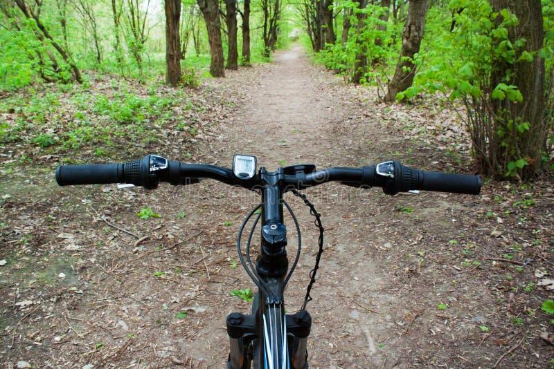 Montanha que biking abaixo do monte que desce rapidamente na bicicleta imagem de stock