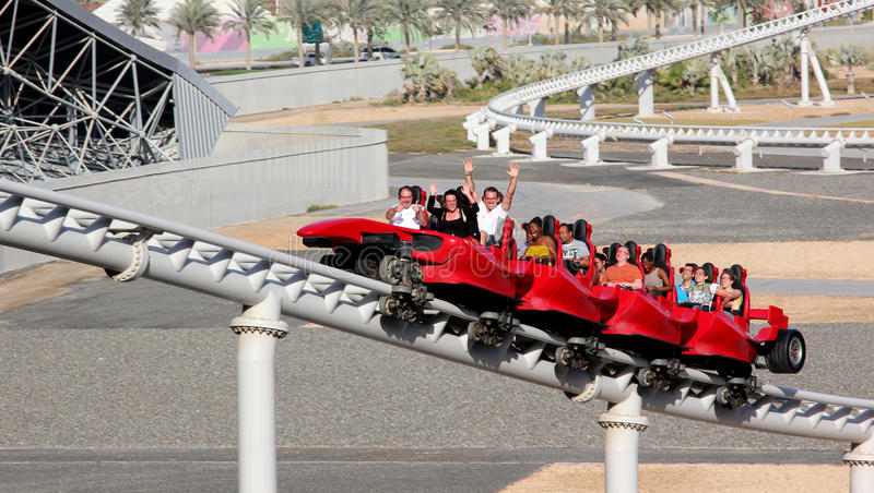 Montanha russa do mundo de Ferrari fotografia de stock royalty free
