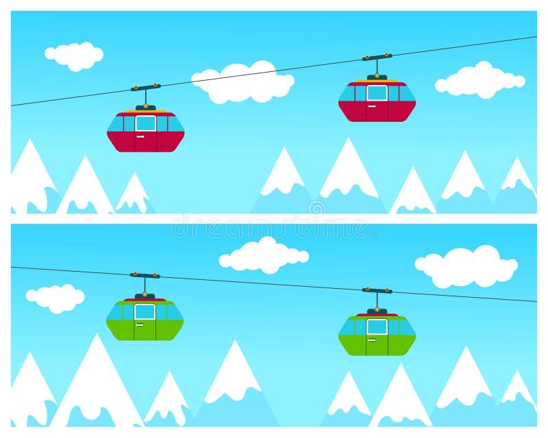 Montanha Ski Cableway ilustração stock