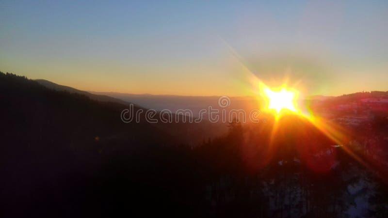 Montanha Sun de Rodophi do nascer do sol imagem de stock royalty free
