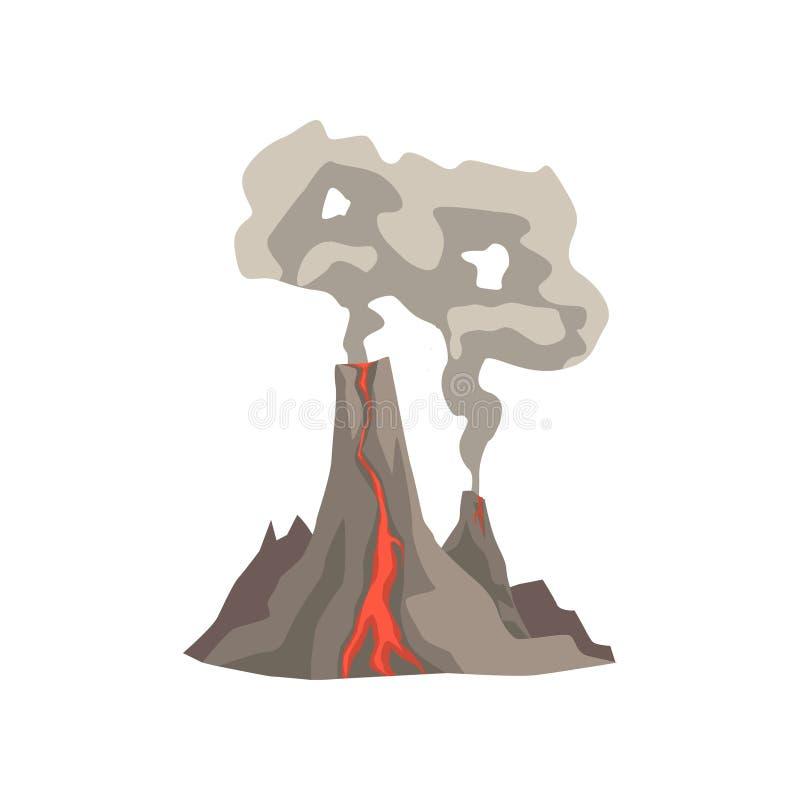 A montanha vulcânica acima ateada fogo com magma, a lava quente e a nuvem de poeira vector a ilustração ilustração stock