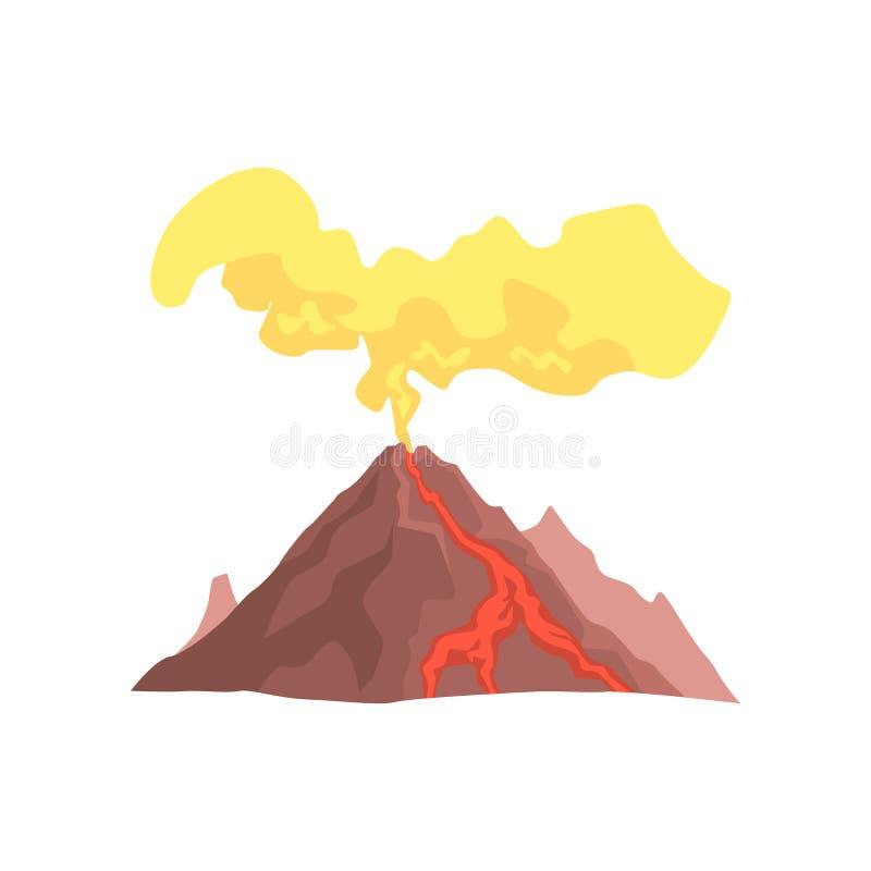 A montanha vulcânica com magma, a lava quente e a nuvem de poeira vector a ilustração ilustração royalty free