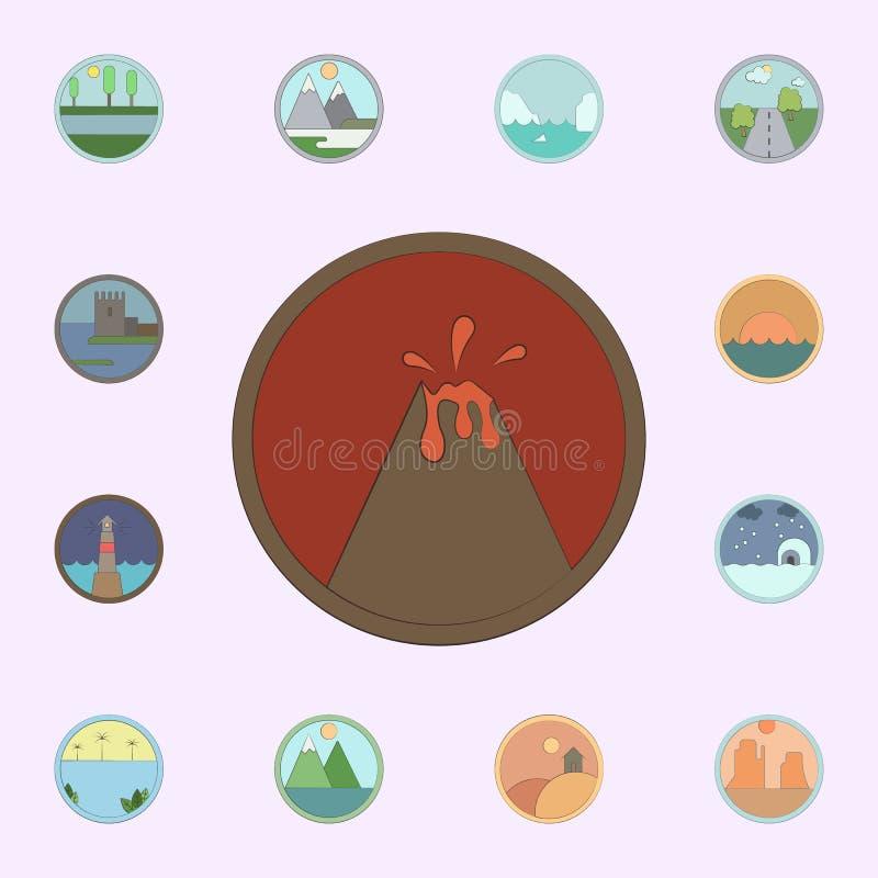 Montanha vulc?nica colorida no ?cone do c?rculo grupo universal dos ?cones das paisagens para a Web e o m?bil ilustração stock