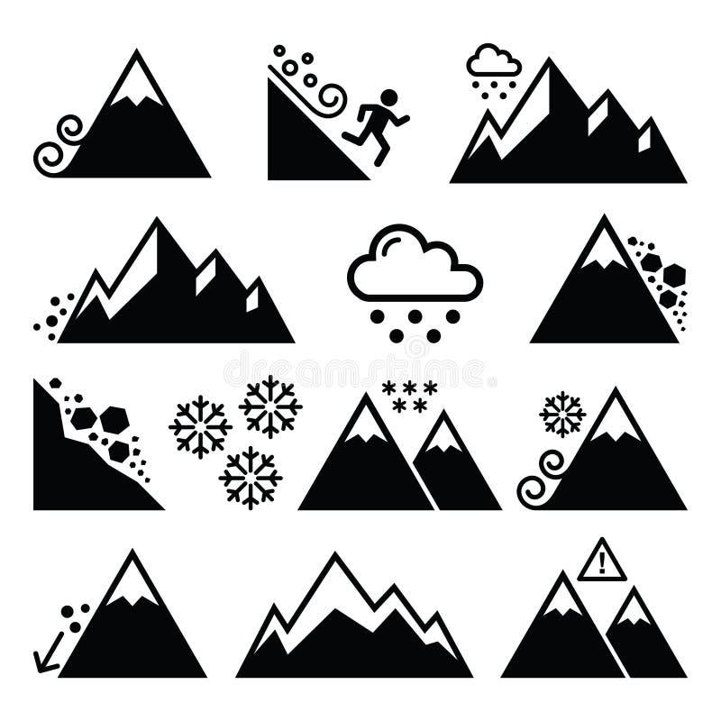 Montanhas, avalancha, ícones da catástrofe natural do snowslide- ajustados ilustração do vetor