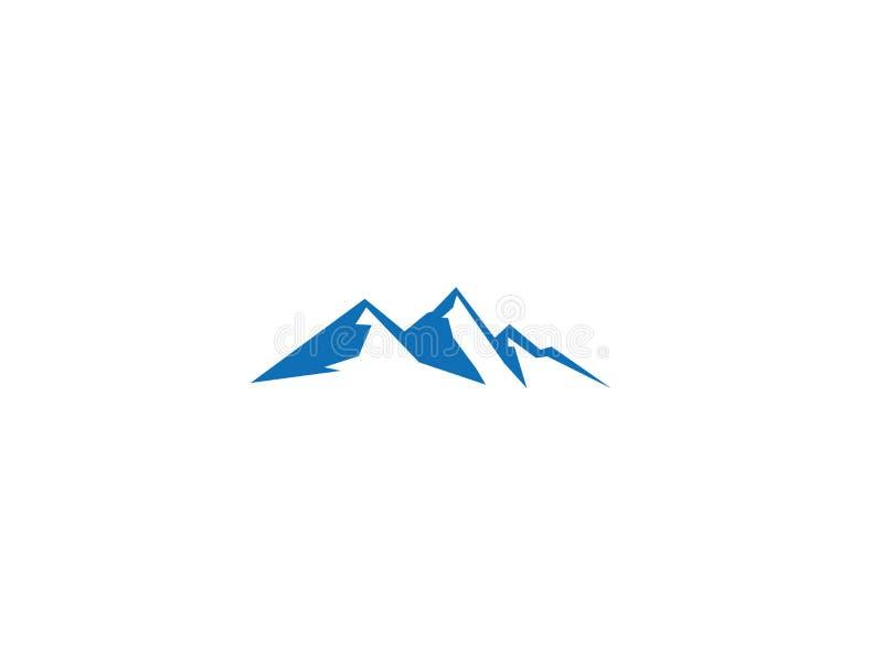 Montanhas azuis grandes com logotipo da neve e do gelo ilustração stock