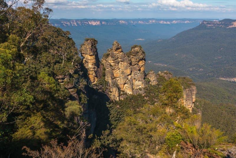 Montanhas azuis, NSW Austrália - três irmãs fotografia de stock royalty free
