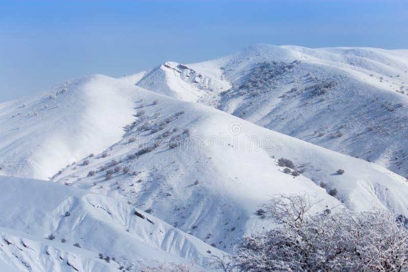 Montanhas bonitas de Tien Shan na neve no inverno fotos de stock