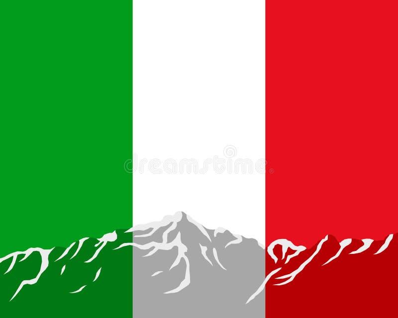 Montanhas com a bandeira de Itália ilustração stock