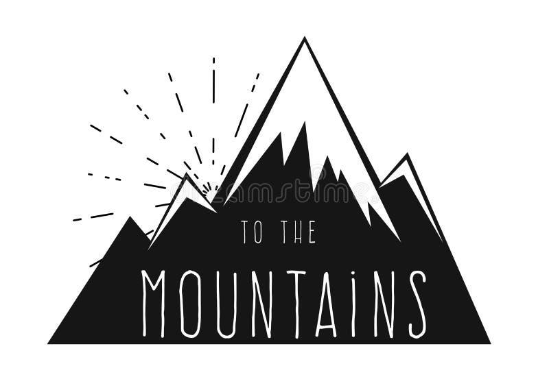 Montanhas com picos neve-tampados Logotipo ao estilo da gravura ilustração do vetor