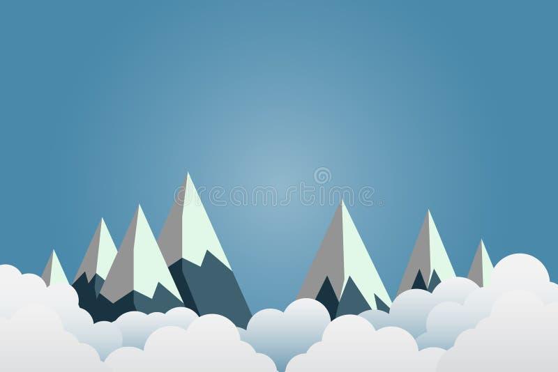 Montanhas com pores do sol bonitos sobre as nuvens Arte de papel Ilustração ilustração do vetor
